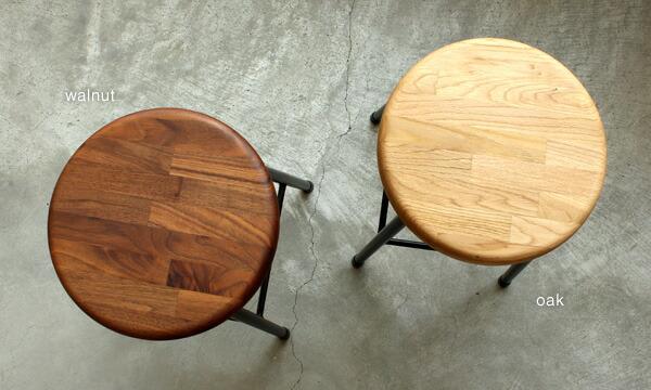 オークとウォールナットの集成材を使用した北欧風の木製スツール