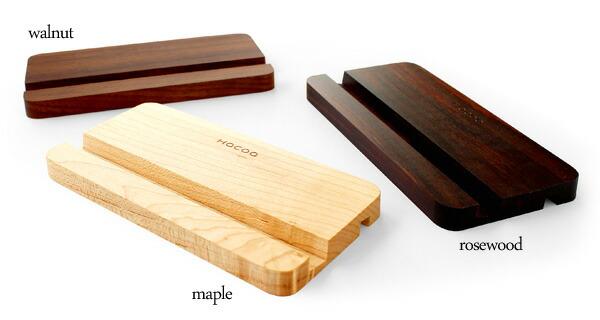 メープル・ウォールナット・ローズウッドの高級木材から選べる木製iPhoneスタンド