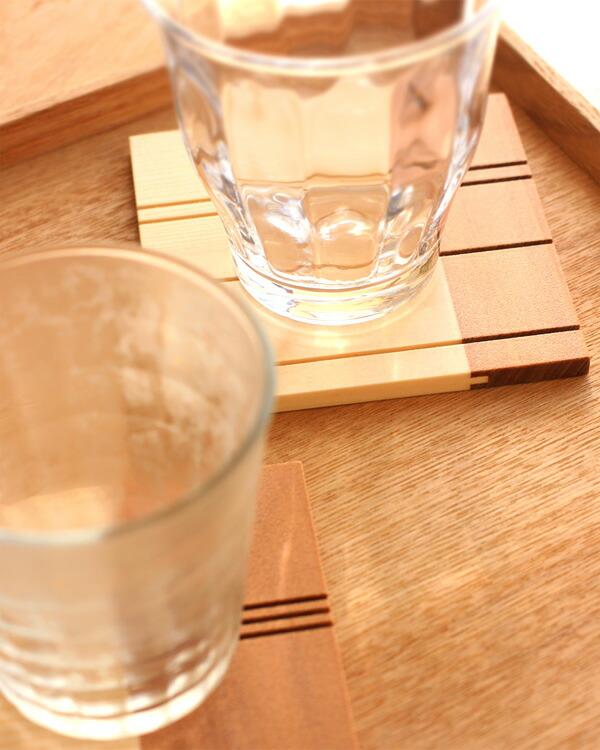 グラスがくっつきにくいおしゃれな木製コースター