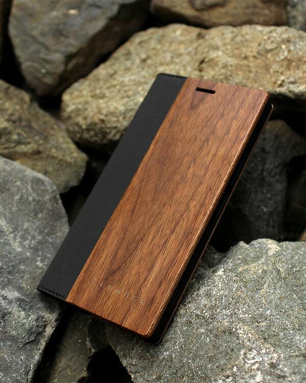 手帳型の木製スマートフォンケース Xperia™ XZプレミアム専用