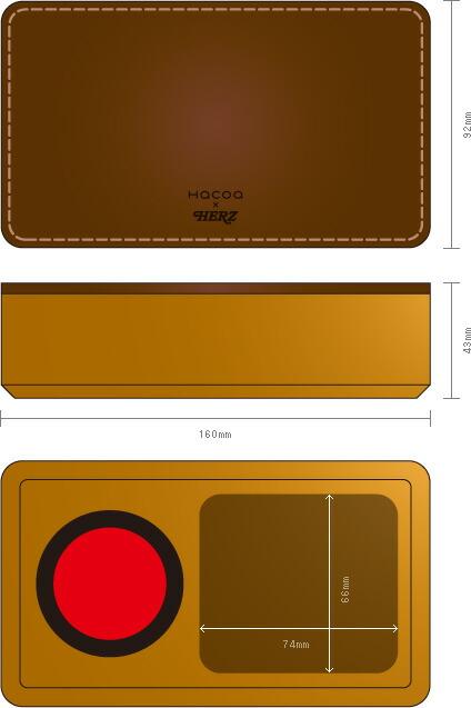 HacoaとHERZとのコラボレーションで生まれた木と革の印鑑ケース。