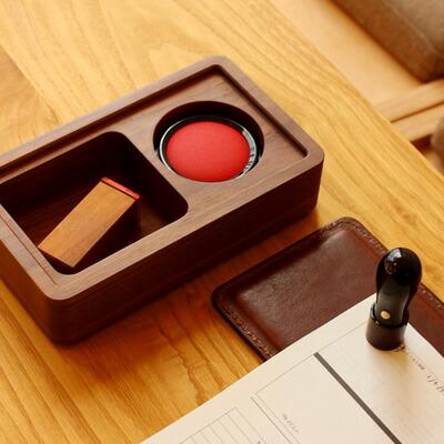 木と革の印鑑ケース&捺印マット「STAMP MAT & CASE Lサイズ」