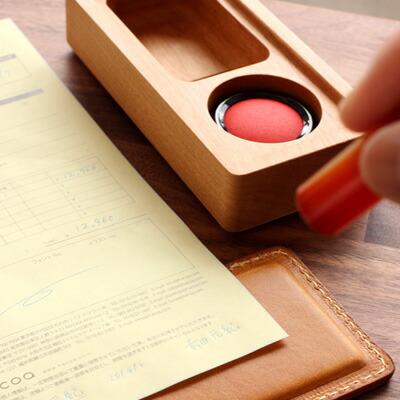 木と革の印鑑ケース&捺印マット「STAMP MAT & CASE Mサイズ」