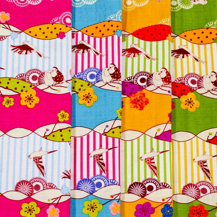生地 4色展開 サザンクロスプリント Nao Furusawa 鳥柄 古澤ナオ ストライプ 原色 オウム 梅 縞 和柄   木綿のかおり