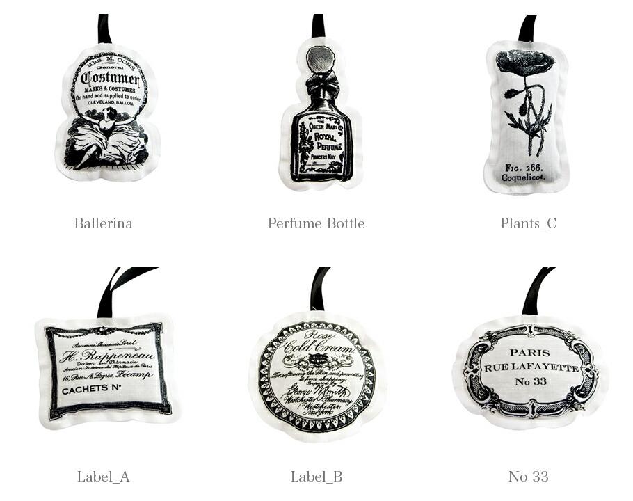 BALLON サシェオーナメントシリーズの香りと個性的な6種類のモチーフ