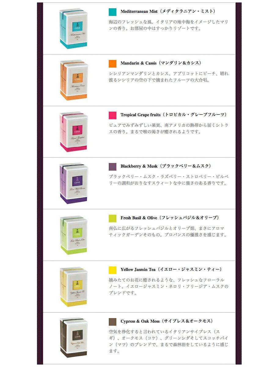 CASA Soy Candle(カーサ ソイキャンドル)の個性的な7種類の香りとパッケージデザイン