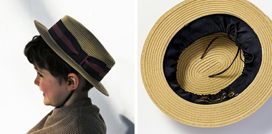 帽子の内側に付いたひもで頭囲のサイズが調整可能