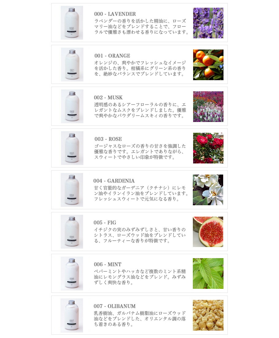 天然精油をベースにブレンドした、TAMANOHADAコンディショナーの8種類の香り