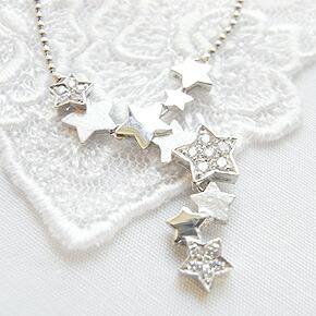 夜空にちりばめられた星たち14KWG(ホワイトゴールド)ネックレス