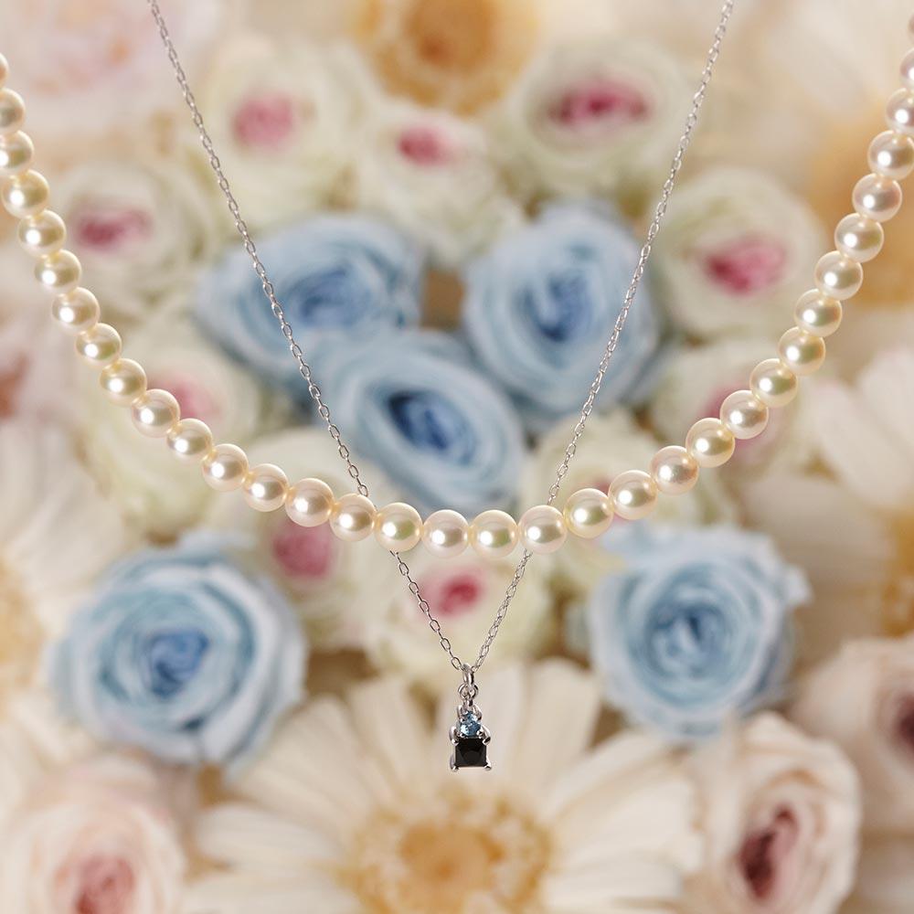 Pearl & Jewel ネックレス ブルートパーズ&オニキス(K18WG)