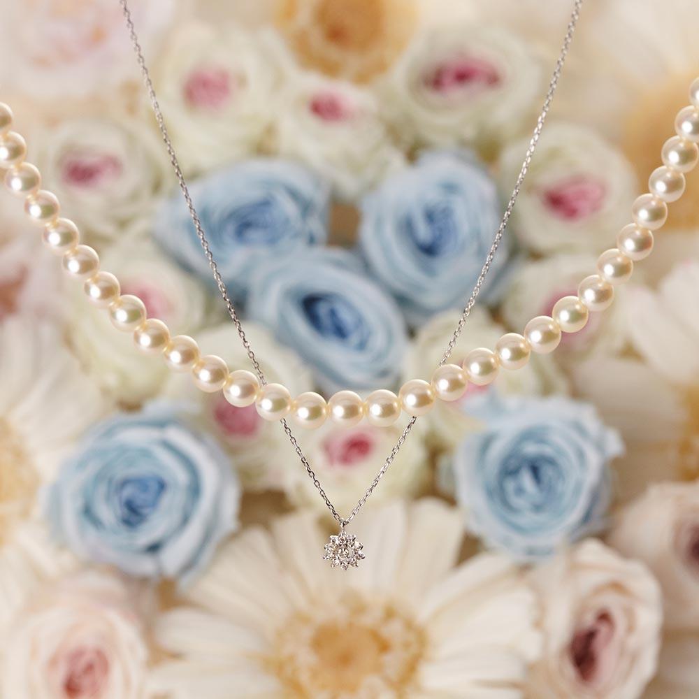 Pearl & Jewel ネックレス ダイヤモンド (K18WG)
