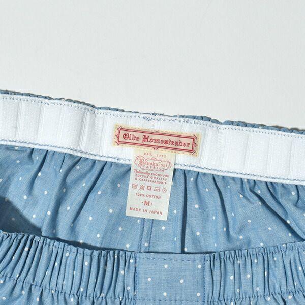 Olde Homesteader オールドホームステッダー ウーブン ボクサー トランクス WOVEN BOXER インディゴ 抜染 ドット ストライプ ギフト プレゼント MADE IN JAPAN 日本製