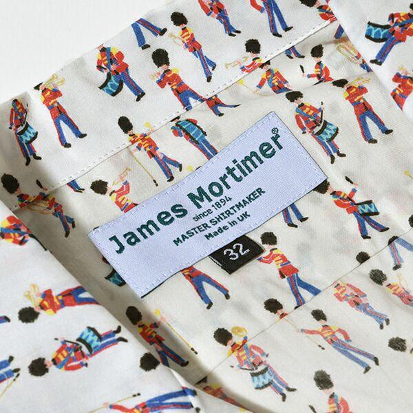 ジェームスモルティマー リバティ ミュージカルマーチ プリント 開襟 シャツ 半袖 James Mortimer LIBERTY タナローン from London with Love Musical March 兵隊 音楽隊