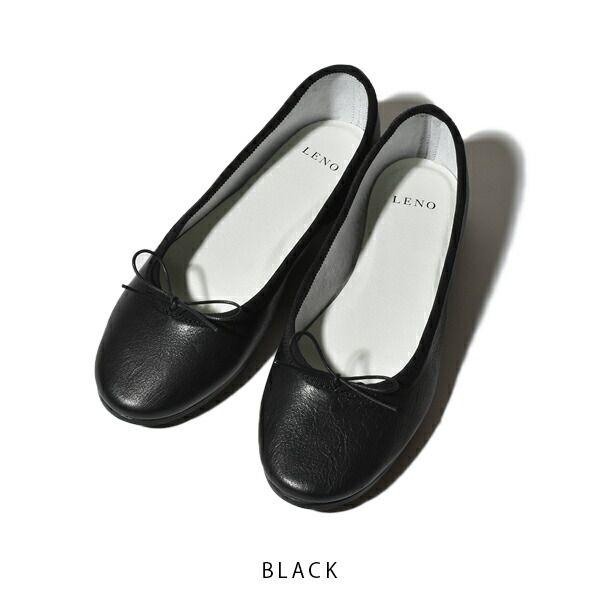 LENO リノ BALLET SHOES バレエシューズ スムース カウレザー BLACK IVORY ブラック アイボリー