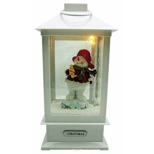 ランタンMホワイト(スノーイング・ミュージック・点灯)【イルミネーション】クリスマスイルミネーションモチーフ