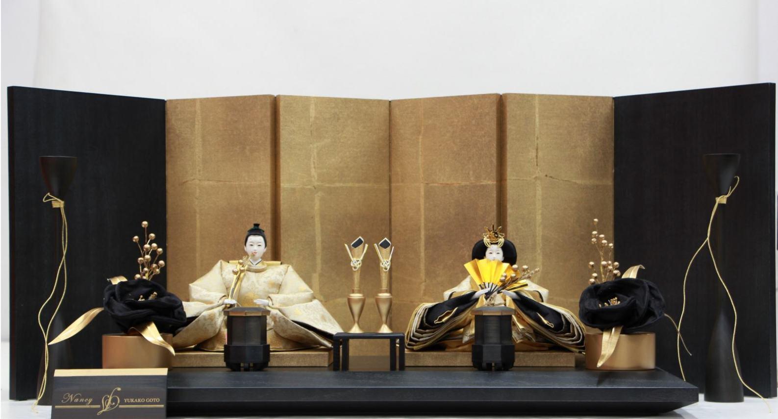 アート&デザイン後藤由香子作Nancy創作雛人形平飾り【雛人形親王飾り】