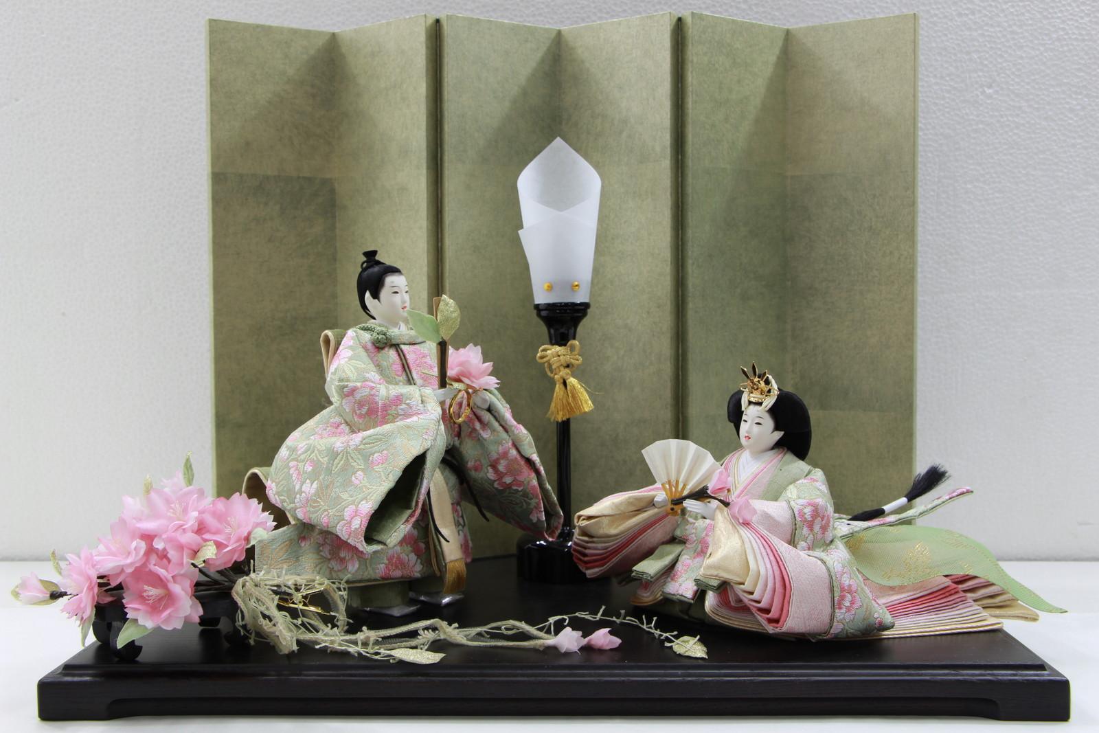 アート&デザイン後藤由香子作黒桜創作雛人形平飾り【雛人形親王飾り】