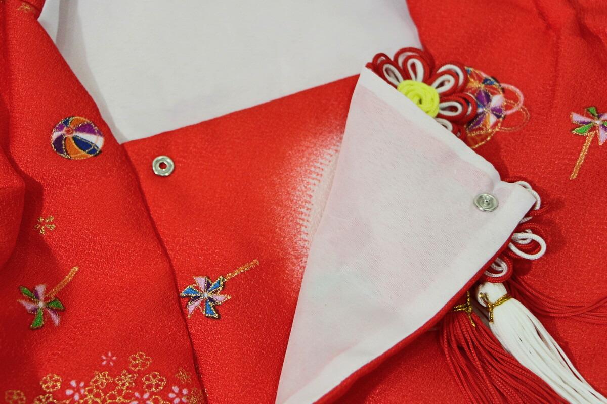 被布羽織赤こども友禅箱入り飾り台付雛人形お被布被布着お祝着赤スタンド付【雛人形桃の節句関連商品】