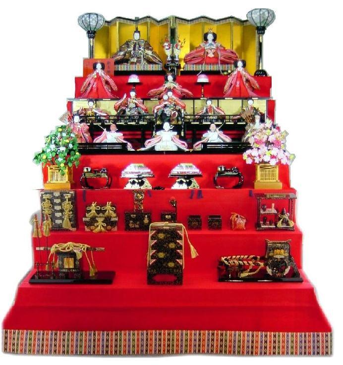 120歓喜雛正絹本金(15人御所庭7段飾り)
