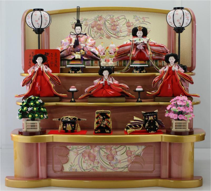 75歓喜雛ピンクコンパクト(5人塗り桐3段飾り)
