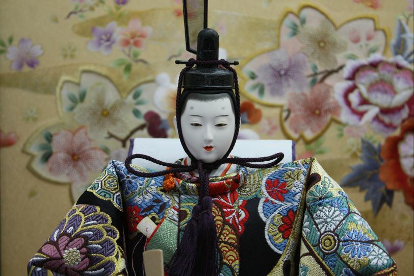 120歓喜雛正絹5人(焼き桐3段飾り)