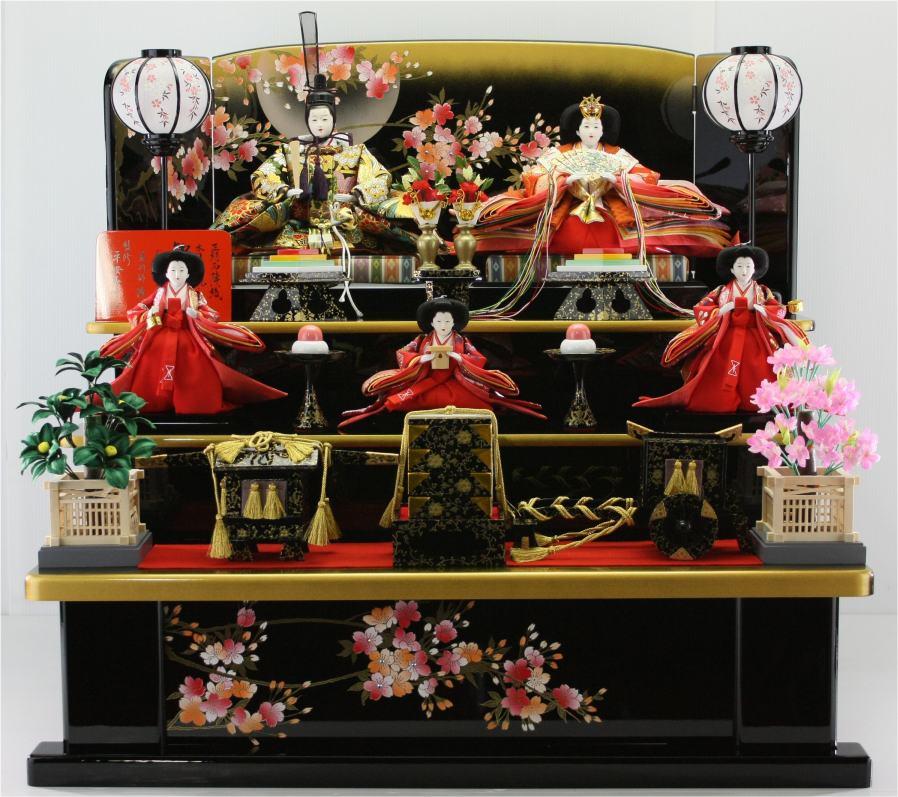 80歓喜雛(木製黒塗り5人3段飾り)