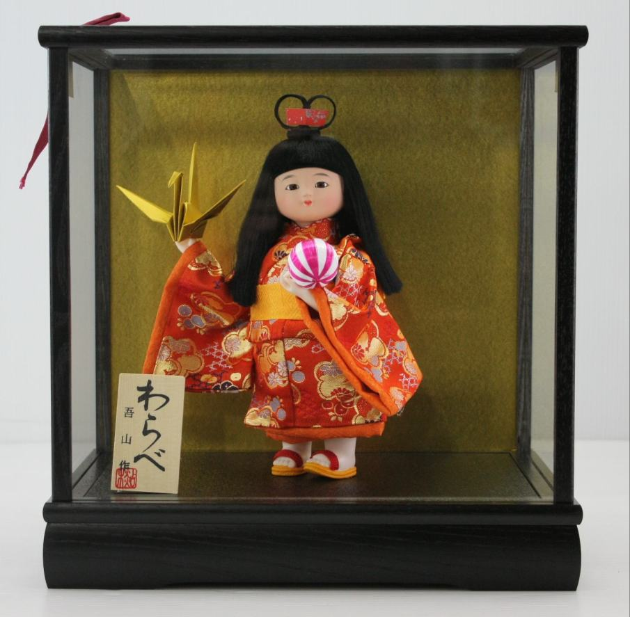 5号わらべ人形平和木製枠ガラスケース飾り【雛祭り】【ひな人形】