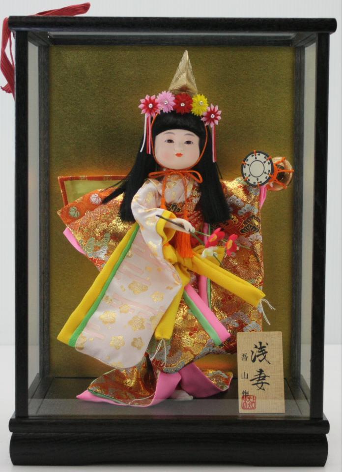 5号舞踊人形浅妻木製枠ガラスケース飾り【雛祭り】【ひな人形】