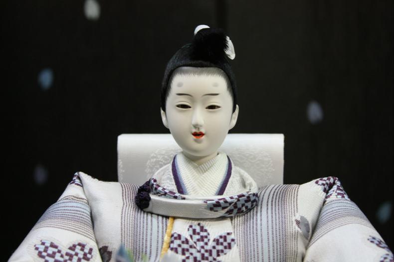 アート&デザイン後藤由香子作花の舞ブルー創作雛人形平飾り【雛人形親王飾り】
