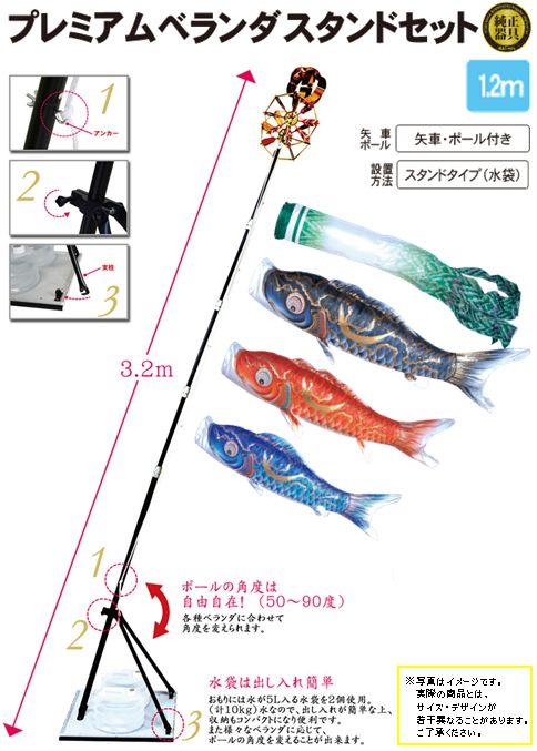 金彩弦月之鯉豪1.2mプレミアムベランダスタンドセット(水袋)