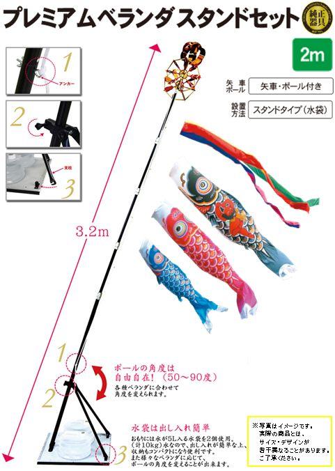 金太郎ゴールド鯉2mプレミアムベランダスタンドセット(水袋)
