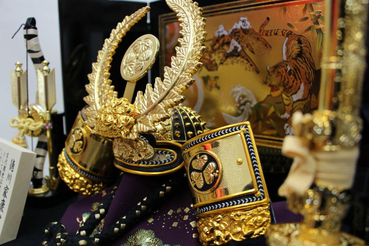 15号徳川家康兜15412黒収納黒屏風セットこどもの日五月人形収納飾りコンパクトミニ