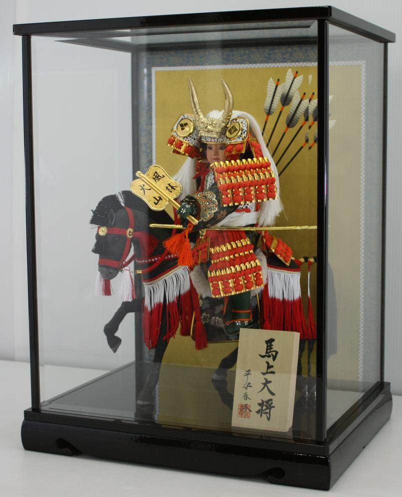 武田信玄公馬乗り大将ケース脇飾りケース馬乗り武者人形