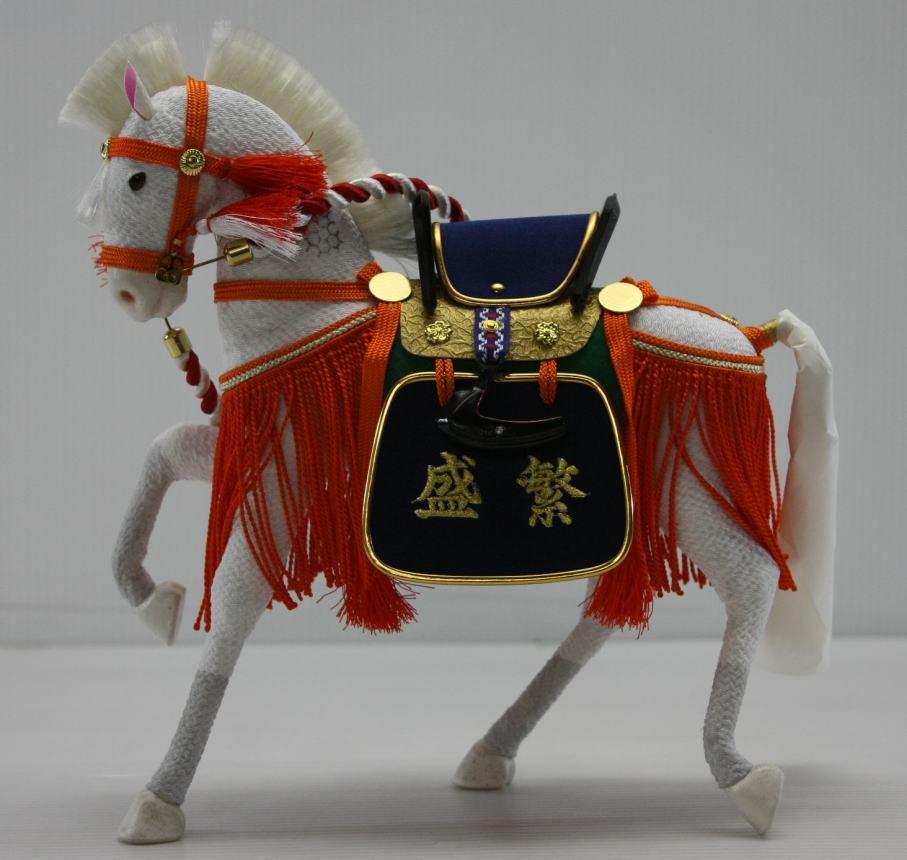 8号ちりめん飾り馬朱色(箱入り)刺繍名入れ