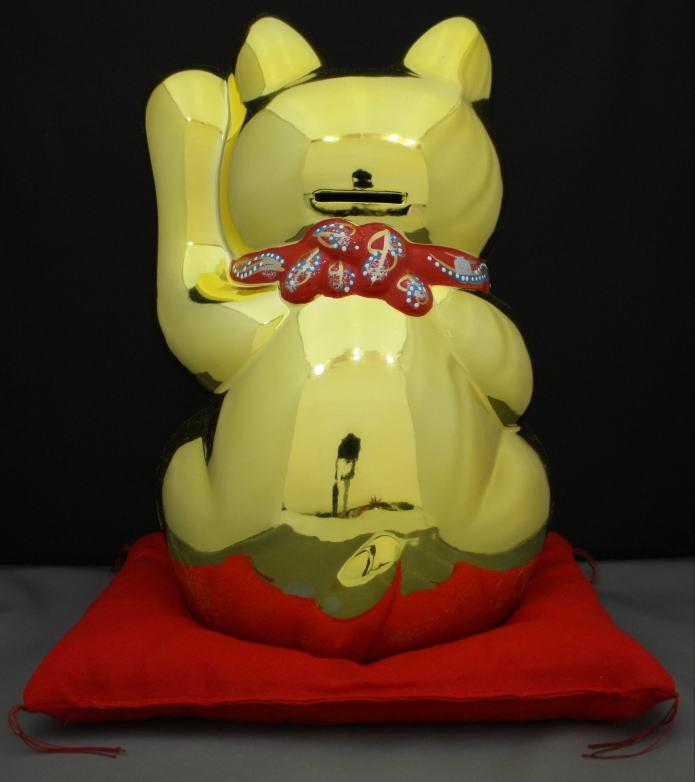 10号招き猫小判金(左手)(座布団付)