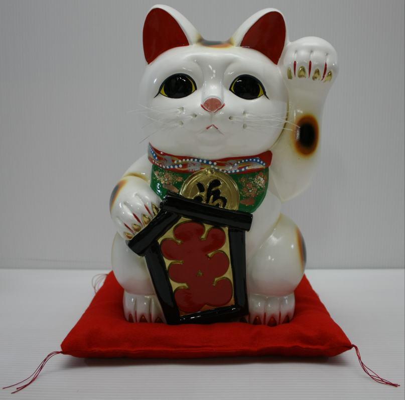10号招き猫大入り白左手(座布団付)