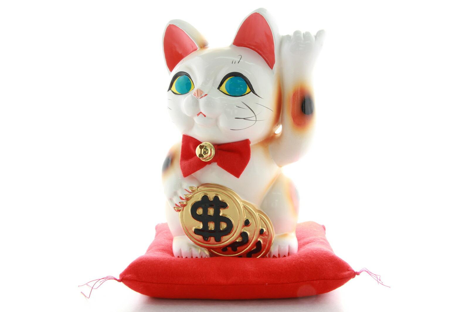 6号招き猫ドル猫白左手(座布団付)