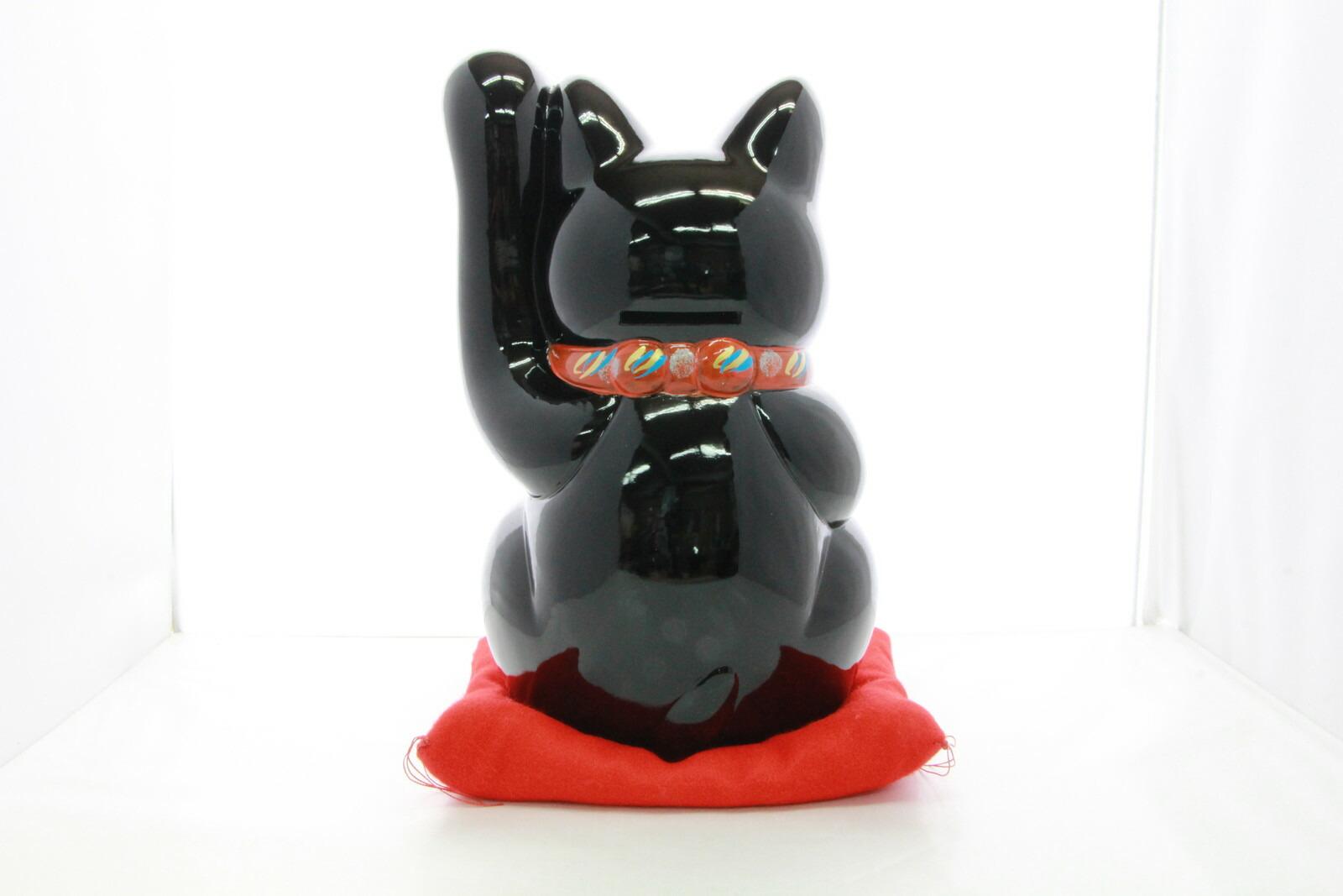 8号招き猫小判黒手長(座布団付)