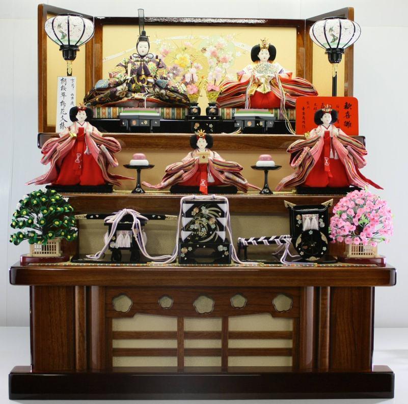 100歓喜雛正絹帯地5人飾り(塗り桐3段飾り)