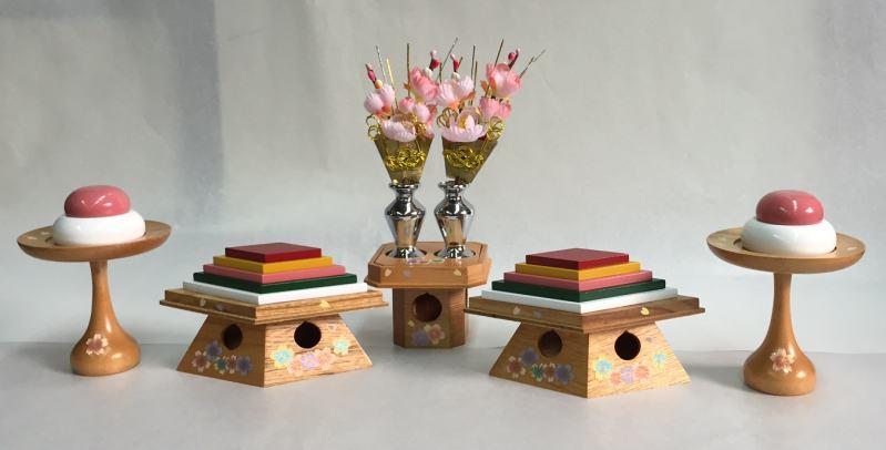 30木製御道具揃い30号3点リボン暈し桜木製雛飾り付属御道具訳あり特価