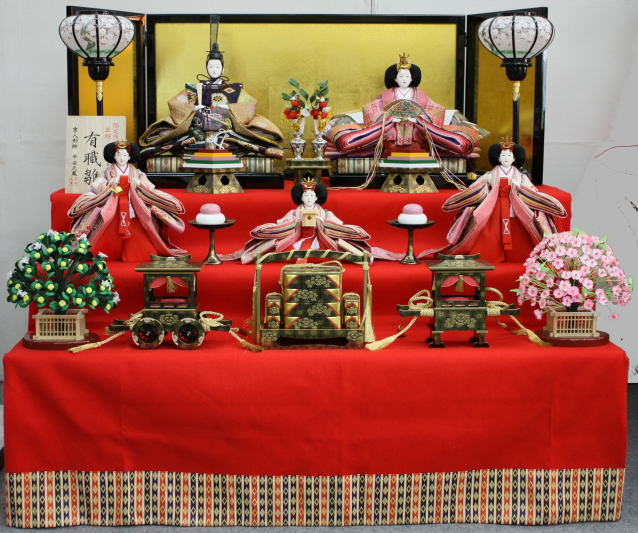 105平安天鳳作京八番有職雛(五人三段飾り)