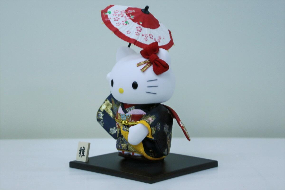 ハローキティ(傘)キャラクター人形日本人形番傘衣装着