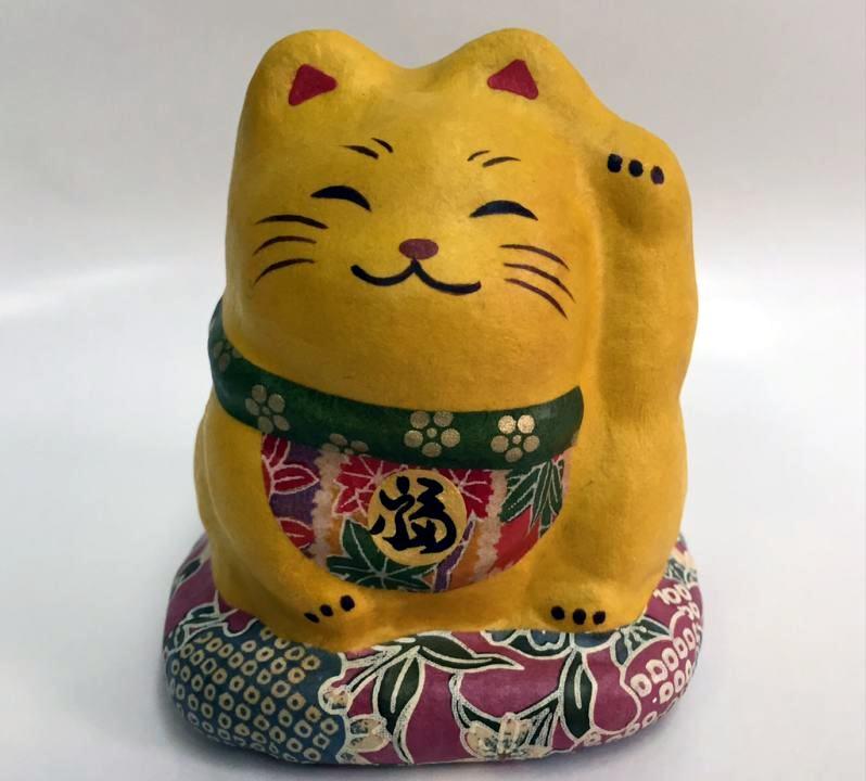 福招き猫(黄色)和紙製