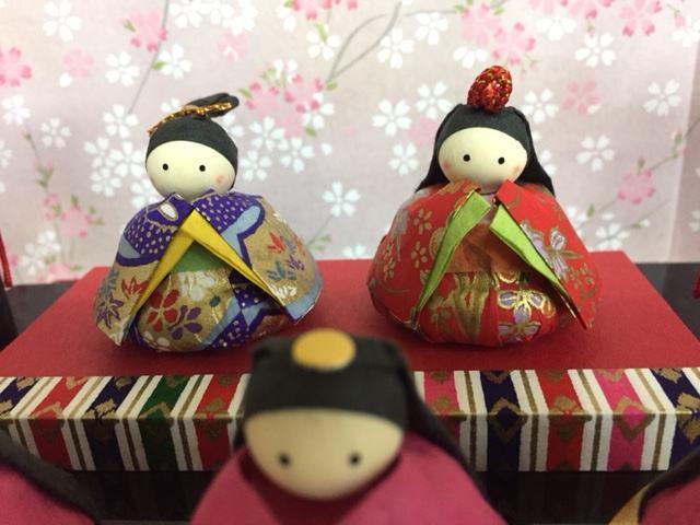 和紙福雛二段飾り三曲屏風付