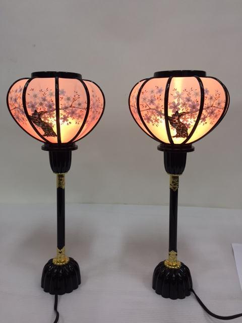 プラ雪洞菊灯大々高さ43cmピンクグラデーション黒塗りぼんぼりコード式雛飾り付属ぼんぼり訳あり特価
