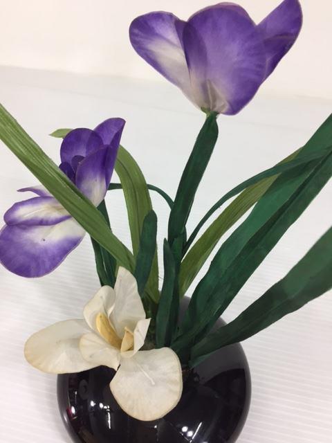 フラワーオブジェ700-11あやめ台に少しへこみあり五月飾り端午の節句付属品訳あり特価