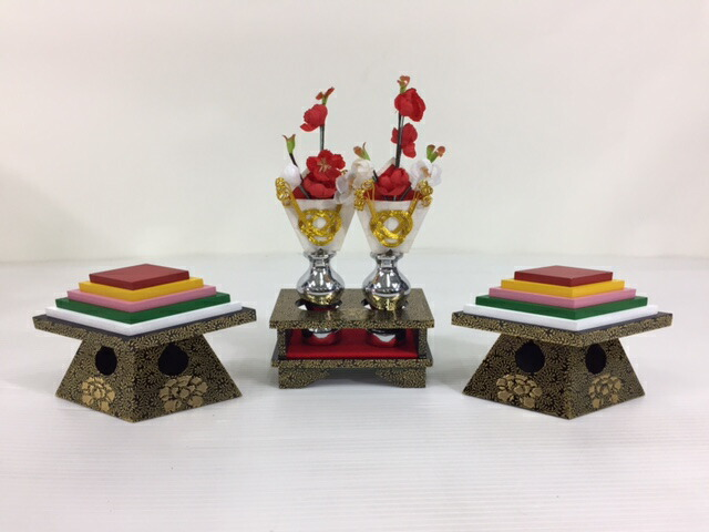 40号木製唐草(牡丹)菱餅・三宝2点セット木製高級お道具揃い雛道具揃訳あり特価