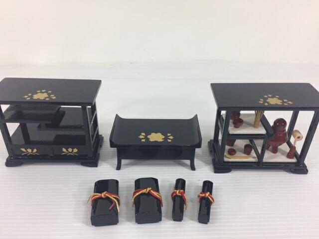 30号本木製雛道具七品揃い黒塗り金杯木製高級お道具揃い雛道具揃訳あり特価
