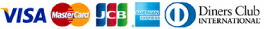 VISA, MasterCard, JCB, American Express, Diners Club INTERNATIONAL