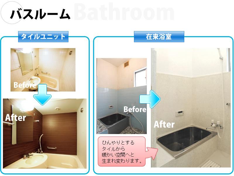 浴室のパネル施工